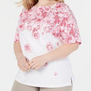 Karen Scott Ginger Magnolia Floral Cuffed- Sleeve